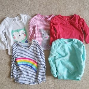 Lot of 5 Long Sleeve Shirts Girls Carter's